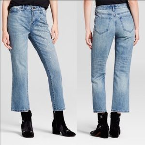 Who What Wear light wash pearl straight leg jeans